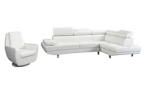 MICHELA (TLD‐901R/TLD9048) CORNER CHAISE + SINGLE SEATER - LEATHER/ETTE WITH RIGHT CHAISE (KIT#072A) - WHITE