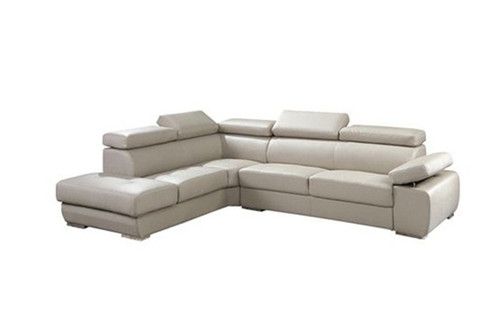 CROSSVERNOR (TLD‐397L) 3 SEATER COMBINATION OF GENUINE LEATHER & PVC WITH LEFT  CHAISE - BEIGE
