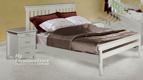 PARKVIEW (MODEL 18-15-13-1-14-25) DOUBLE OR QUEEN 3 PIECE BEDSIDE BEDROOM SUITE - WHITE