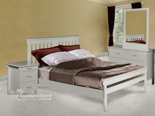PARKVIEW (MODEL 18-15-13-1-14-25) SINGLE OR KING SINGLE 4 PIECE BEDROOM SUITE  - WHITE