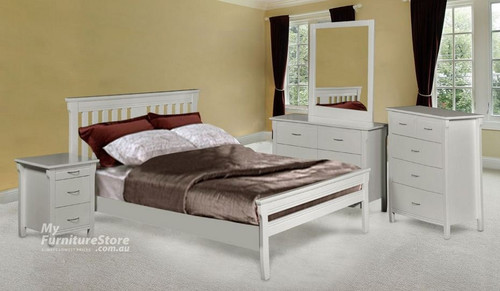 PARKVIEW (MODEL 18-15-13-1-14-25) SINGLE OR KING SINGLE 5 PIECE BEDROOM SUITE  - WHITE