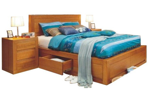 CLAREMONT DOUBLE OR QUEEN 3 PIECE (BEDSIDE)  BEDROOM SUITE WITH 4 UNDER BED DRAWERS  - CHOICE OF COLOURS