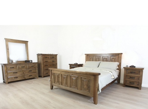 HERITAGE KING SINGLE 4 PIECE BEDROOM SUITE - GREY WASH(#501)