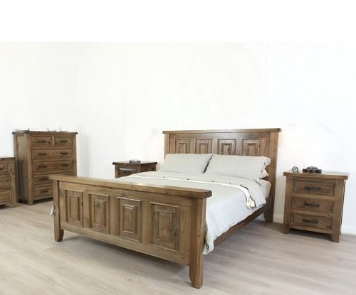 HERITAGE KING  4 PIECE TALLBOY  BEDROOM SUITE - GREY WASH(#501)
