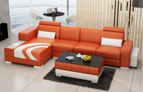 BENDITA   LEATHER  CHAISE LOUNGE WITH COFFEE TABLE  ( MODEL-F3007C) - CHOICE OF LEATHER AND ASSORTED COLOURS AVAILABLE
