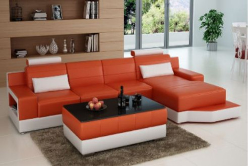 SETIMA LEATHER  CHAISE LOUNGE SUITE +  COFFEE TABLE ( MODEL-L6005C) - CHOICE OF LEATHER AND ASSORTED COLOURS AVAILABLE