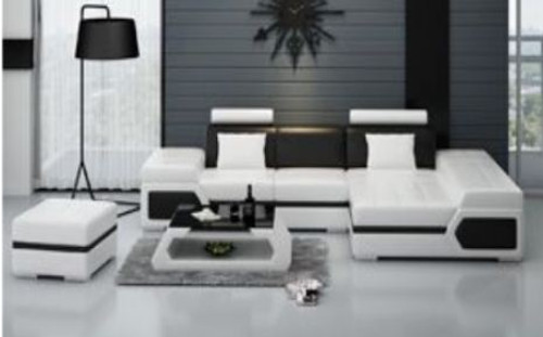 BERAYA  LEATHER  CHAISE LOUNGE SUITE +  COFFEE TABLE ( MODEL-K5013D) - CHOICE OF LEATHER AND ASSORTED COLOURS AVAILABLE