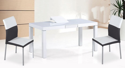 CHADI EXTENSION DINING TABLE ONLY (T0004) - 1600/2000(W) X 900(D) - HIGH GLOSS WHITE