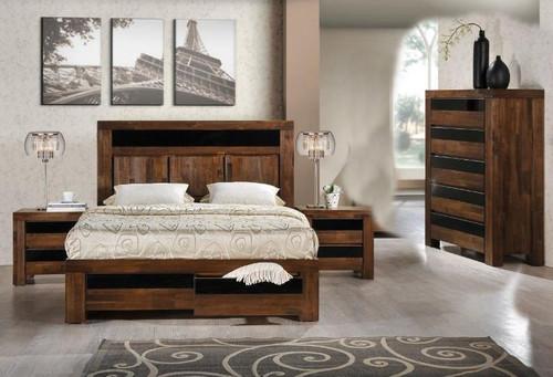 TOLEDO KING 4 PIECE TALLBOY BEDROOM SUITE - ANTIQUE COFFEE STAIN