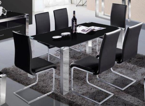 FRAN  7 PIECE DINING SET WITH GLASS  TABLE - 1080(L) x 1800(W)