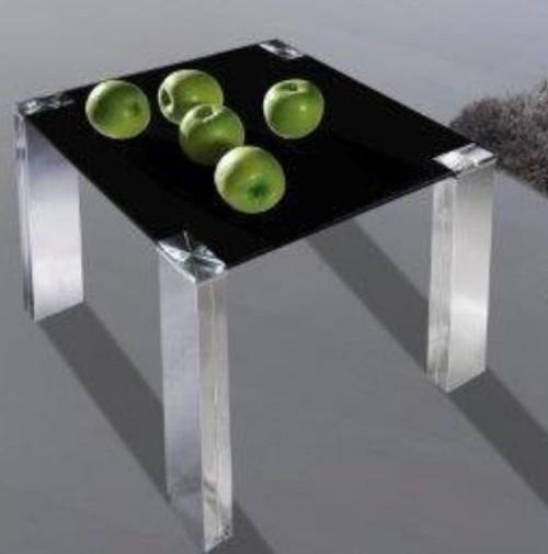 FRAN (BST06LT) LAMP TABLE -  BLACK GLASS/  SILVER