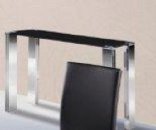 FRAN SOFA / HALL TABLE (MODEL- BST06ST) - 750(H) X 1200(W) X 350(D) -  BLACK GLASS/  SILVER