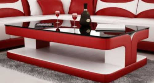 DIOR COFFEE TABLE (VC45) - LEATHERETTE + TEMPERED GLASS -  1200(W) X 700(D) - ASSORTED COLOURS