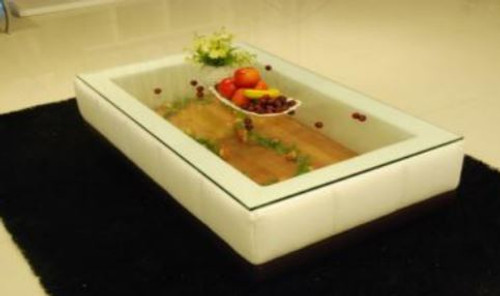 BIANCA  COFFEE TABLE (VC51) -  LEATHERETTE + TEMPERED GLASS - ASSORTED COLOURS