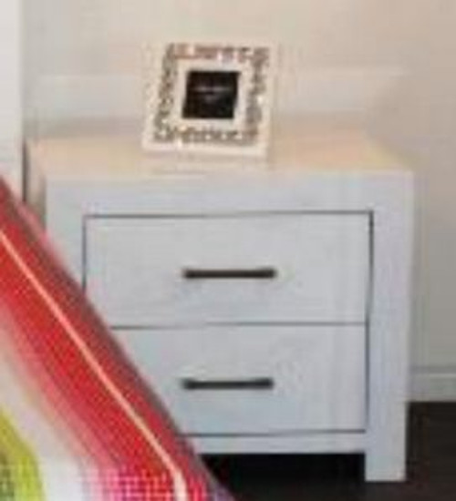 SIENNA 2 x DRAWER BEDSIDE TABLE  -  GLOSS WHITE