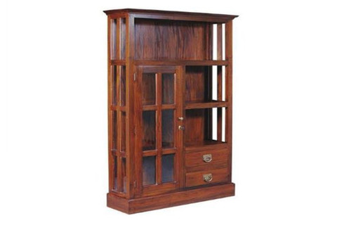 FERDIE (DC102GL) DISPLAY CABINET  (1800H x 1100W) - CHOCOLATE OR MAHOGANY