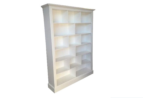 COLONIAL (AUSSIE MADE) PIGEON BOOKCASE 3 SPACE ON TOP (7 X 5) - 2100(H) X 1500(W) - WHITE , ANTIQUE WHIRE OR WHITEWASH