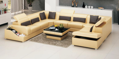 WINNERS (MODEL-G8008)  LEATHERETTE  CHAISE LOUNGE SUITE WITH COFFEE TABLE - CHOICE OF LEATHER AND ASSORTED COLOURS AVAILABLE