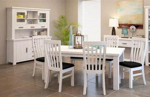 DENALI (VAL-001) 7 PIECE DINING SETTING - 1800(L) X 1000(W) (MODEL 1-12-1-19-11-1) - BRUSHED WHITE