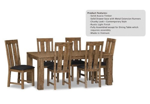 ASHTON (VAN-009) 7 PIECE DINING SETTING  - 1900(L)  x 1000(W) - LIGHT OAK