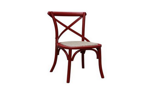 BARISTA (VBR-011-R) DINING CHAIR WITH RATTAN SEAT  - RED