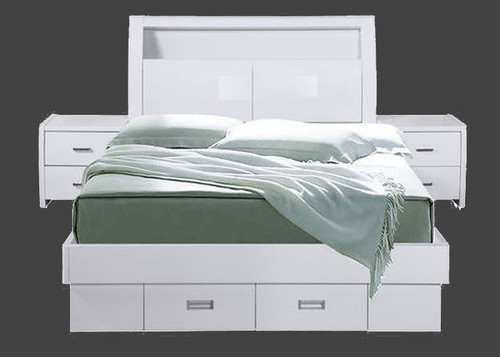 DOUBLE WAVERLEY BED WITH GAS LIFT AND TWO  FOOTEND DRAWERS - HI GLOSS WHITE