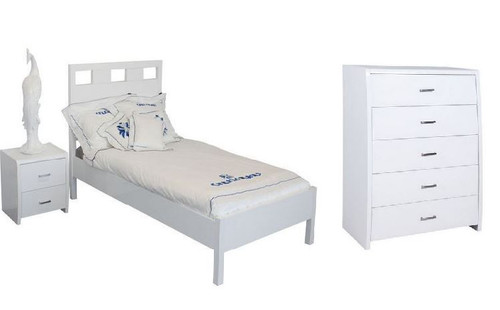 CRONULLA SINGLE OR KING SINGLE 3 PIECE BEDROOM SUITE WITH WAVERLEY CASE GOODS - HIGH GLOSS WHITE