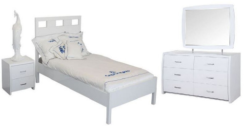 CRONULLA SINGLE OR KING SINGLE 4 PIECE BEDROOM SUITE WITH WAVERLEY CASE GOODS - HIGH GLOSS WHITE