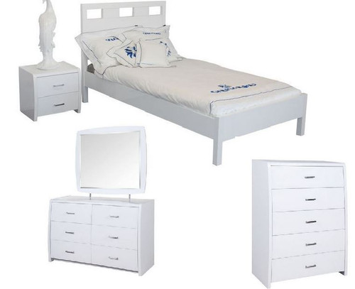 CRONULLA SINGLE OR KING SINGLE 5 PIECE BEDROOM SUITE WITH WAVERLEY CASE GOODS - HIGH GLOSS WHITE