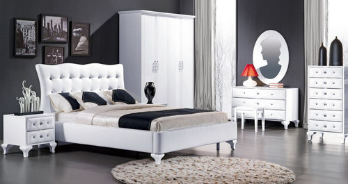 KEVIN (8-1-23-1-9-9) QUEEN 6 PIECE (THE LOT)   BEDROOM SUITE  - HI GLOSS WHITE