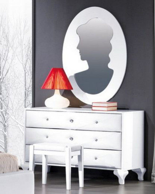 KEVIN (8-1-23-1-9-9)  DRESSING TABLE WITH MIRROR & STOOL -  GLOSS WHITE