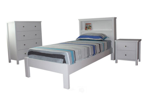 FLORENTINA (11-9-4-19) SINGLE OR KING SINGLE 3 PIECE BEDROOM SUITE  - WHITE