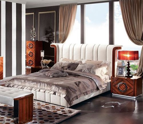 KING JUPITER BED - PU & GLOSS MDF