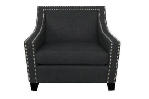 CAROL (V-3598) LINEN ARM CHAIR - CHARCOAL