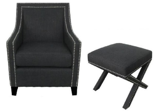 CAROL (V-3598) LINEN ARM CHAIR WITH FOOT STOOL  - CHARCOAL