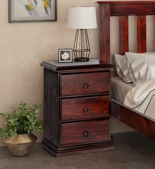 CRONULLA (CR183) 3 DRAWER BEDSIDES TABLE - BALTIC , WALNUT (PICTURED) OR GREYWASH