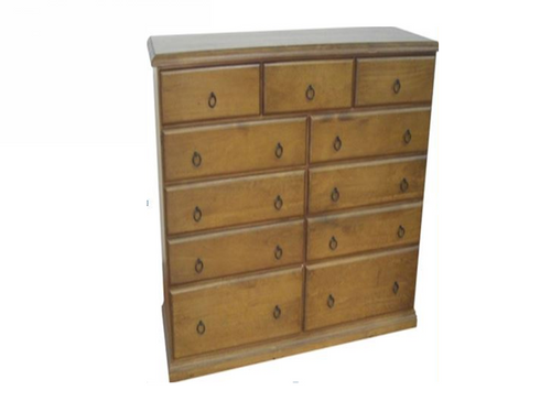 CRONULLA (CR60511) 11 DRAWERS SPLIT TOP CHEST- 1150(H) X 1510(W) - BALTIC , WALNUT OR GREYWASH