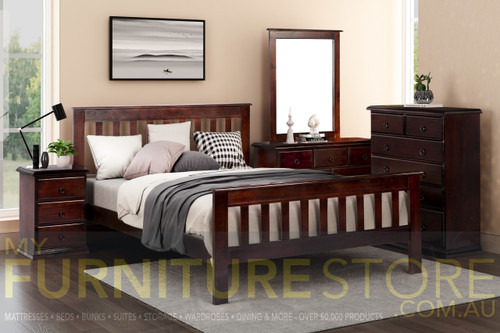 CRONULLA SINGLE OR KING SINGLE 4 PIECE (DRESSER) BEDROOM SUITE - BALTIC, WALNUT OR GREYWASH