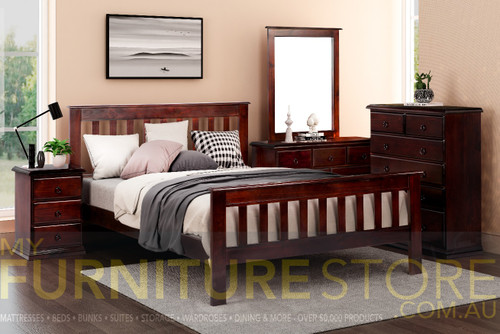 CRONULLA SINGLE OR KING SINGLE 5 PIECE (DRESSER) BEDROOM SUITE - BALTIC , WALNUT (PICTURED) OR GREYWASH