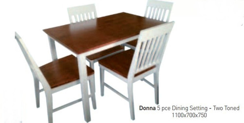 DONNA 5 PIECE FIXED DINING SETTING (TWO TONED) - WHITE / ANTIQUE OAK