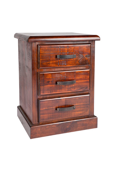 CALISTA (COB183) 3 DRAWER BEDSIDE TABLE - ROUGH SAWED
