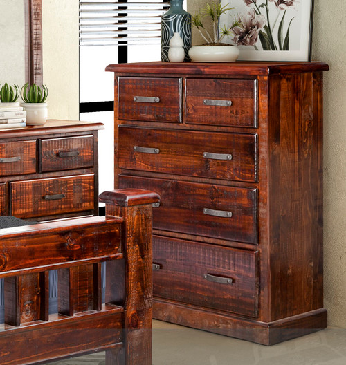 CALISTA (COB3441) 5 DRAWER SPLIT TOP TALLBOY (2 OVER 3) - 1220(H) X 910(W) - ROUGH SAWED