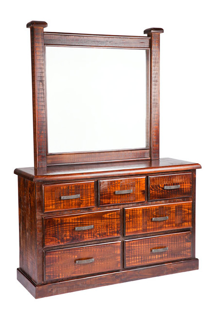 CALISTA (COB8437+M) 7 DRAWER DRESSING TABLE & MIRROR - 1895(H) x 1360(W) - ROUGH SAWED