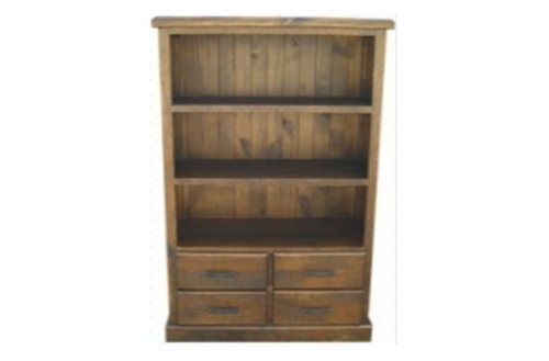 CALISTA BOOKCASE (COBBC1.8) WITH 4 DRAWERS - 1870(H) X 1000(W) - ROUGH SAWED