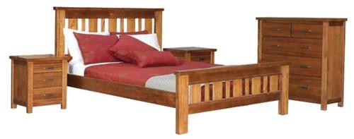 MONTANA QUEEN  FEDERATION 3 PIECE BEDSIDE BEDROOM SUITE - MOUNTAIN GUM (2099)