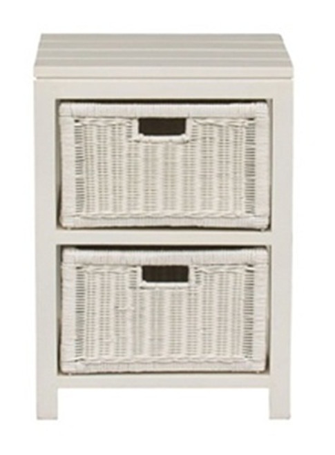 FERNARY (LT 002 RT ) RATTAN STORAGE UNIT WITH 2 DRAWERS - WHITE OR MAHOGANY
