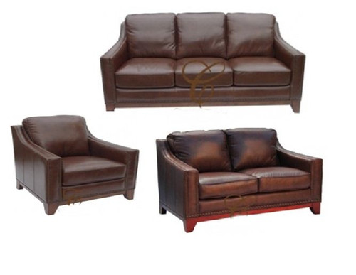 BOSTON 3S + 2S+ 1S 100% COW LEATHER LOUNGE SUITE - CHOCOLATE