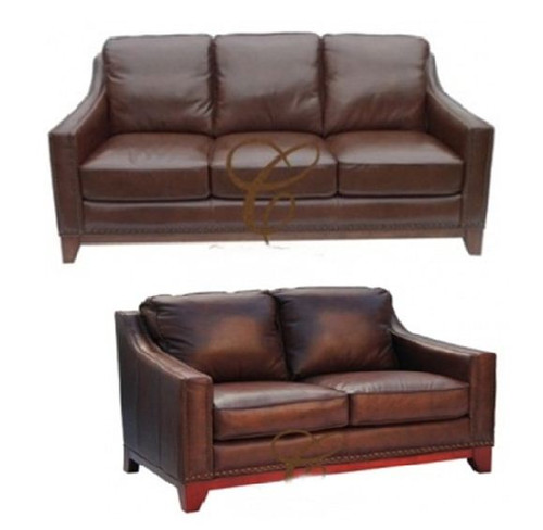 BOSTON 3S + 2S - 100% COW LEATHER LOUNGE SUITE - CHOCOLATE