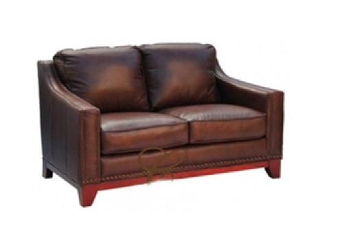 BOSTON 2 SEATER - 100% COW LEATHER SOFA - CHOCOLATE