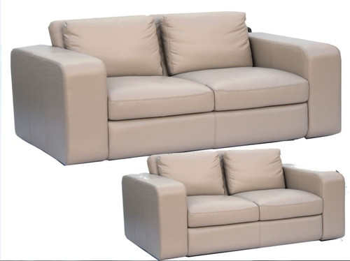 JOH 3S + 2S 100% COW LEATHER LOUNGE SUITE - ASSORTED COLOURS